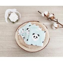 Lingettes lavables panda vert